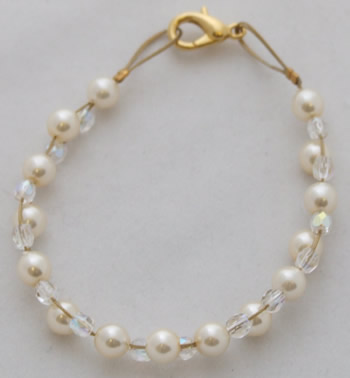 Double gold wire pearl and crystal bracelet