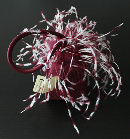 Burgundy and White Feather Bag