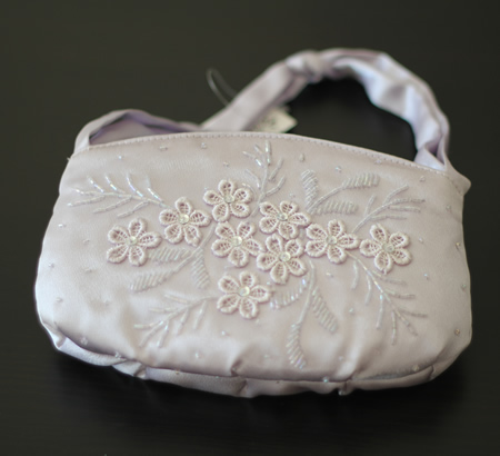 Light Purple Fabric Beaded Bag