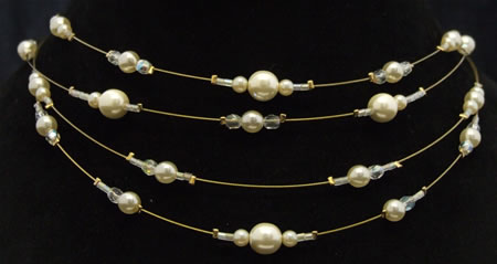 4 gold wire ivory pearl/crystal ab necklace