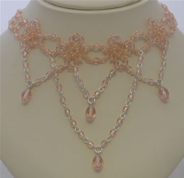 Peachy pink glass bead necklace