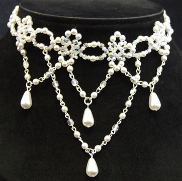 White Pearl Bead Necklace on Silver