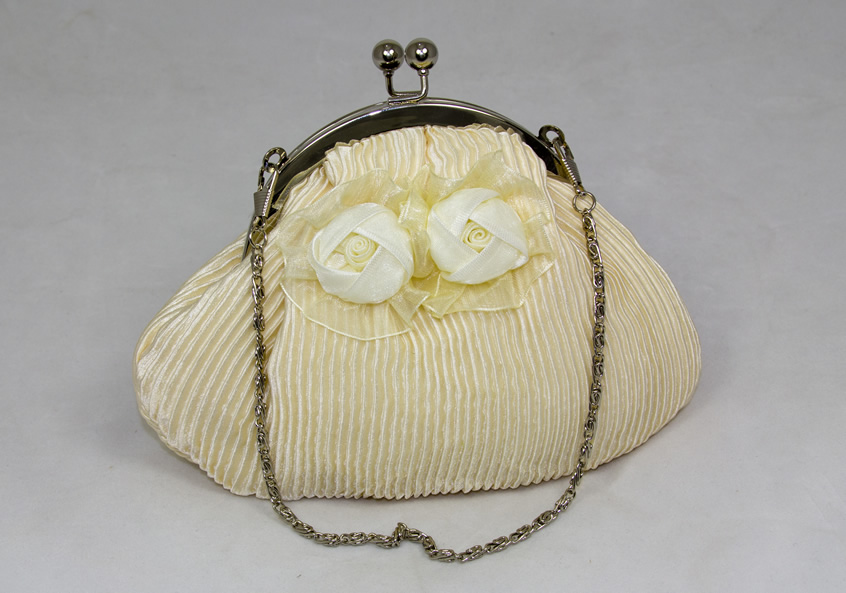Cream Pleated Bag with Rosette Detailing