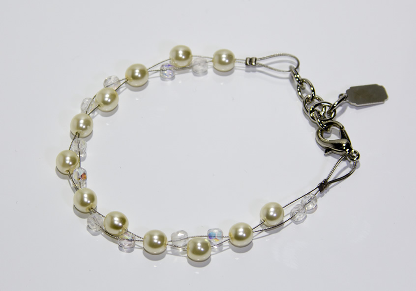 Image of Silver grey double wire bracelet
