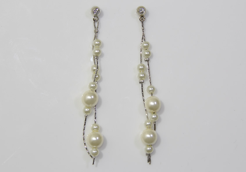 Image of Double Silver Strand Pearl and AB Crystal Earrings