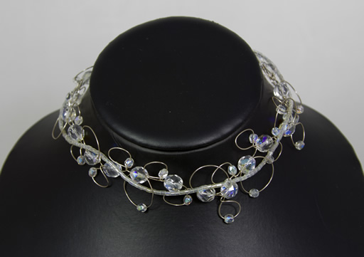 Image of AB Crystal choker on looped silver wire